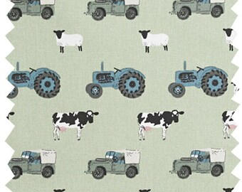 Fun farm animal, tractor and Land Rover fabric by the metre