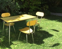 3 vintage yellow chairs formica