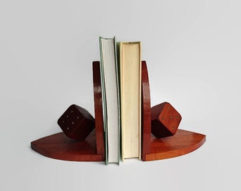 Vintage bookends, rustic bookends, wooden bookends, bookends of wood, brown bookends, dice bookends, bookends with dice,wooden dice bookends