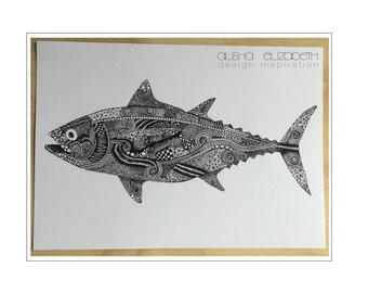 Ltd Edition Tuna Ink Drawing - A3 Print