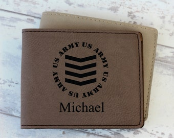 Wallet - Engraved Leather Wallet - Mens Wallet - Military - Groomsman