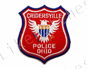 Cridersyille Police Ohio State Rank Badge New Sew / Iron On Patch Embroidered Applique Red Patches Size 6.5cm.x7.3cm.