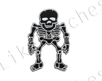 Black Skeleton Skull Bones Halloween Ghost New Iron On Patch Embroidered Applique Size 5.3cm.x8cm.