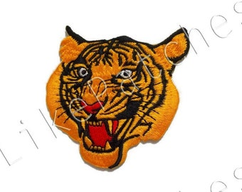 Big Size - Tiger Patch - Tiger Face - Wild Animal New Sew / Iron On Patch Embroidery Applique Size 7.9cm.x8cm.