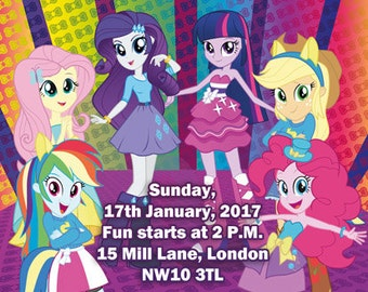 Downloadable Personalised/Customised Birthday Invitations or Thank you Cards Equestria Girls My Little Pony printable, digital
