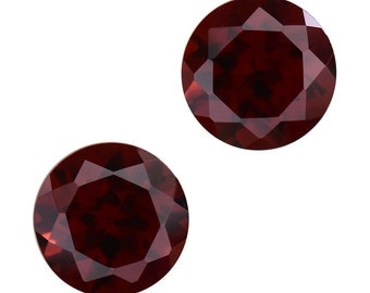 Mozambique Red Garnet Set of 2 Loose Gemstones Round Cut 1A Quality 6mm TGW 2.00 cts.