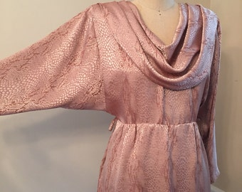 Blush open back dress, pink vintage dress, cowl neck, small vintage dress