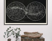 Milky Way with Double Hemisphere Constellation, Astronomy Decor, Astronomy Print, Constellations Art, Celestial Print, 1920, Large Art