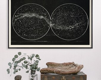 Celestial Star Chart, Constellation Wall Print, Star Map Print, Galaxy Print, Milky Way, Space Art, Northern Hemisphere Double Constellation