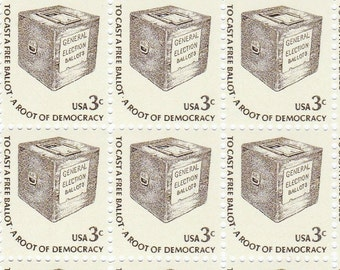 Qty of 10 Early Ballot Box .03 cent 1977 vintage postage stamps, These stamp are in excellent, unused, unhinged condition.