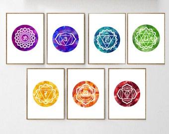 Yoga prints Chakras art SET of 7 Mandala wall art REIKI wall art YOGA Posters mantra prints Healing Art Meditation poster Bohemian Art