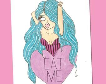 Eat Me Pinup Illustration Print