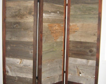 Screen made from reclaimed barn wood  !!