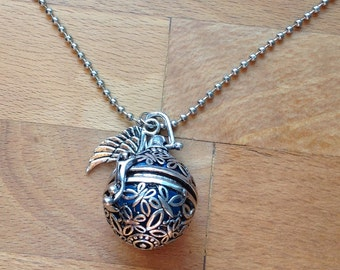 Vintage style silver wish box butterfly filigree and blue ball necklace
