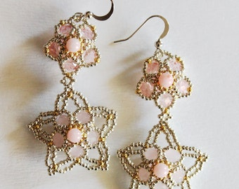 Earrings flowers in duo pink and silvered