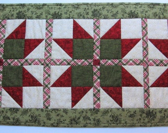 Red Green Quilted Table Runner Primitive Farmhouse Country TraditionalDecor Homemade in Maine