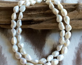 Freshwater Pearl Double Strand Necklace, Pearl Necklace, Wedding Necklace