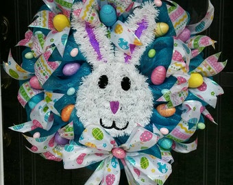 Spring Easter Bunny Rabbit, Easter Eggs, Turquoise Large Door Wreath