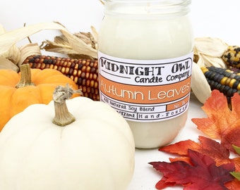Autumn Leaves Scented Mason Jar Candle 8oz or 16oz, fall scented candles, most popular fall candles -Midnight Owl Candle Co.