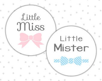 Gender reveal stickers - Little miss stickers - Gender reveal party - Boy or girl - He or she - Pink or blue (RW029)