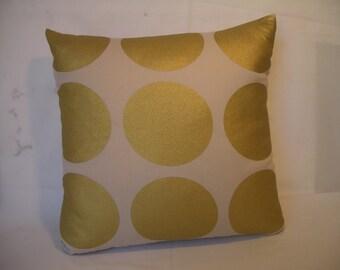 Decor pillow, cushion, large gold spots,Dupion silk back, zippered