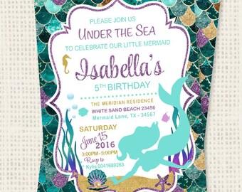 SALE Mermaid Birthday Invitation Teal Purple Gold Sparkle Mermaid Invitation Under The Sea Invitation Mermaid Birthday Party