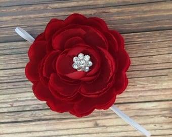 Beautiful red flower newborn size headband