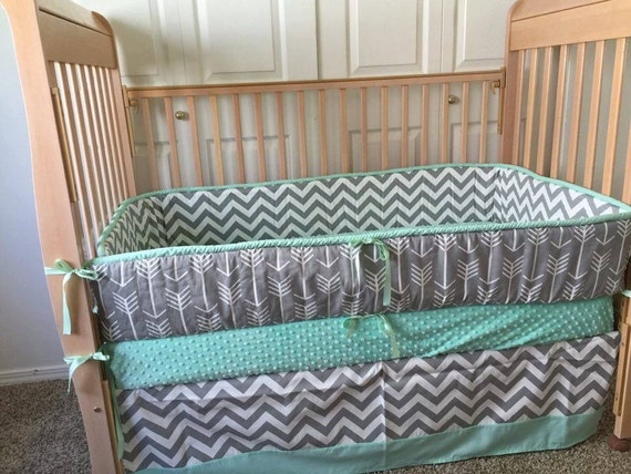 Mint Baby Bedding Gender Neutral Baby By Sewsweetbabydesigns