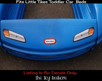 New Replacement Decals Stickers fits Little Tikes Tykes Toddler Race Car Bed Headlights, fog lights, and License plate