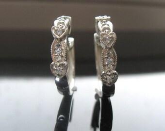 14K Gold Diamond Earrings, Art Deco  Jewelry, solid 14k gold earrings, Christmas gift for wife