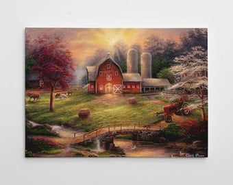 "Farm Painting, Red Barn Canvas Art, Large Painting, Tractor Art Canvas Wall Art,  ""Aniticipation of the Day Ahead"" by Chuck Pinson-3709-GW"