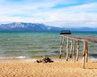 A Pier to Nowhere, Lakeside Beach, South Lake Tahoe, California, Mountains, Blue Skies