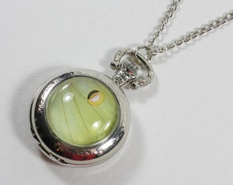 Luna Moth Pocket Watch Pendant Necklace Silver Wing Jewelry