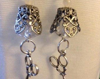 Silver Dangles with Scissors