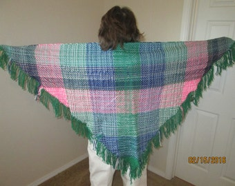 Multicolored six foot triangular shawl