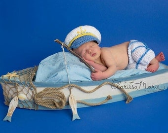 Newborn Baby Boy Set, Baby in Uniform, Baby Sailor Outfit Nautical Crochet Set Infant Captain Hat, Newborn Naval Set Baby Officer Outfit Sea
