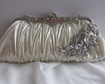 Ivory Bridal Clutch - satin purse w/ Swarovski big Crystal feather brooch ready to ship bride satin clutch, bridal bag, bride bag crystal