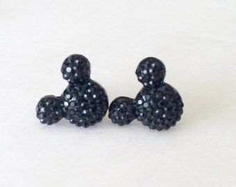 Black Mickey mouse earrings, black mickey mouse stud earrings, black minnie mouse earrings, black minnie mouse stud earrings