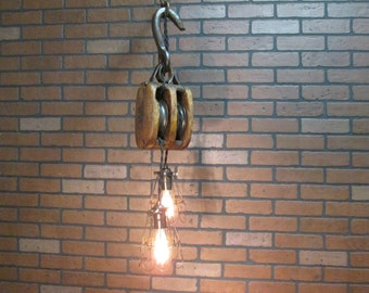 "Vintage Industrial Light Pulley Pendant Drop Ceiling Light with Trouble Cage Shades  40"" Long"