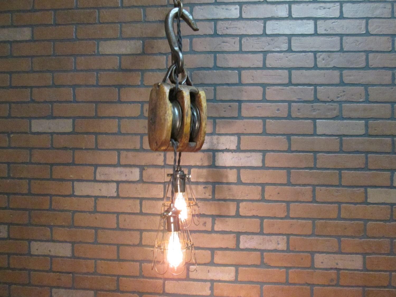 Vintage Industrial Light Pulley Pendant Drop By VintageIronworks