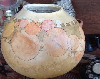 Peach orbs decorative gourd // painted gourd // decorative bowl // painted bowl
