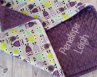 Personalized Baby Blanket, Owl Minky Blanket, Baby Girl Minky Blanket, Owl Baby Blanket, Girl Baby Blanket