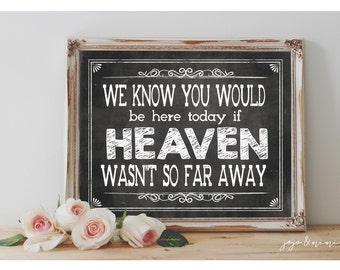 Instant 'We know you would be here today if HEAVEN wasn't so far away' Printable Wedding OR Event Printable Chalkboard Sign 3 Size Options