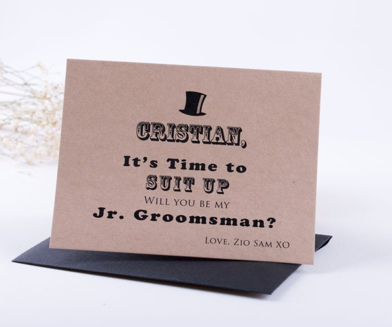 Junior Groomsman Card, Ring Bearer Card, Page Boy Card