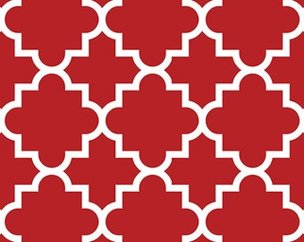 Red Quatrefoil in Knit, Jolly Holiday BOLT Collection, Made in USA, Cotton Jersey Knit Fabric 5623