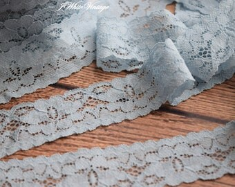 Light Blue Stretch Lace, 1 inch or 25 mm,  elastic webbing,Lace for Headbands,Wholesale Headbands