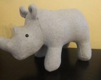 Grey fleece stuffed rhino plushie/safari animal