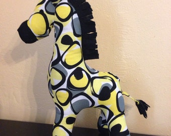 Black and yellow circle print stuffed giraffe/plushie