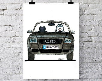 Audi TT and Siberian Husky   Greetings card  /  Art print