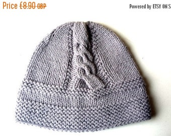 CLEARANCE 50% OFF SALE Hand Knitted baby children hat  , boy knit hat, knit hat  in grey  color for babies 6 - 12 m